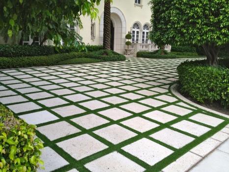 Grass Paver Strip Photos - Artificial Grass & Turf ... on Backyard Ideas Concrete And Grass id=44118